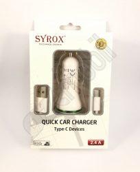 SYROX autós töltő szett SYX-C48 (2,4 A) - 2 in 1 -Type-C