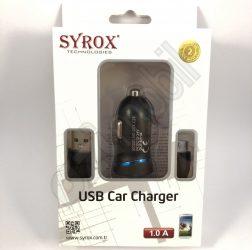 SYROX autós töltő szett SYX-C28 (1A) - 2 in 1 - MicroUSB