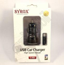 SYROX autós töltő szett SYX-C26 (3,4A) - Fekete - MicroUSB