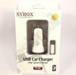 SYROX autós töltő szett SYX-C26 (3,4A) - Fehér - MicroUSB