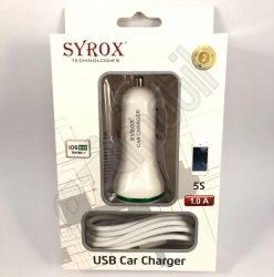 Syrox autós töltő szett (1 A) - 2 in 1 - Iphone 5/6/7/8  SYX-C35