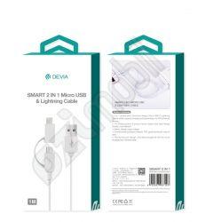 Devia smart 2in1 adatkábel - lightning / microUSB - fehér 1m