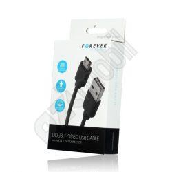 USB és töltőkábel FOREVER - MicroUSB - 1 m-es vezetékkel - fekete (kétoldalas)