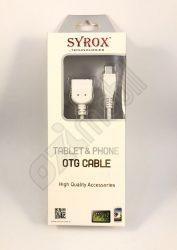 SYROX adatkábel - MicroUSB/USB (OTG)  - fehér SYX-C09
