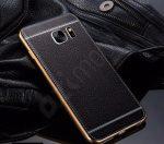 Samsung Galaxy S6 Edge G925F bőr hátlap - fekete