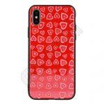 Vennus szíves üveg hátlap - Huawei Y6 (2018) - piros