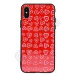 Vennus szíves üveg hátlap - Iphone Xs MAX - piros