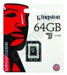 Kingston memóriakártya - Micro SD XC - 64GB - Class 10 - adapter nélkül