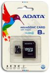 Adata memóriakártya - microSD - 8GB - Class 4 - adapteres