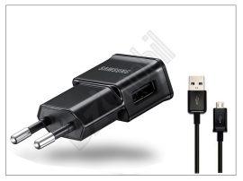Samsung gyári USB hálózati töltő adapter micro USB kábellel - 5V/1A - ETA0U81EBE black (csomagolás nélküli)