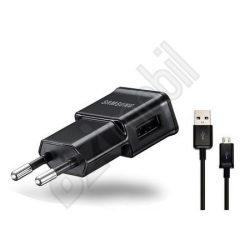 Samsung gyári USB hálózati töltő adapter + micro USB adatkábel - 5V/1A - ETA0U81EBE black (csomagolás nélküli/enyhén karcos)