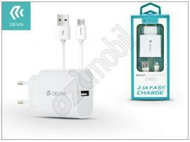 Devia Smart USB hálózati töltő adapter + micro USB adatkábel 1 m-es vezetékkel - Devia Smart USB Fast Charge for Android - 5V/2,1A - white