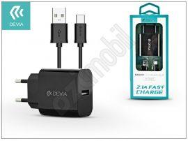 Devia Smart USB hálózati töltő adapter + micro USB adatkábel 1 m-es vezetékkel - Devia Smart USB Fast Charge for Android - 5V/2,1A - black
