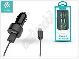 Univerzális Dual USB szivargyújtó töltő adapter + micro USB adatkábel 1 m-es vezetékkel - 5V/2,4A - Devia Smart Dual USB Car Charger Suit - black