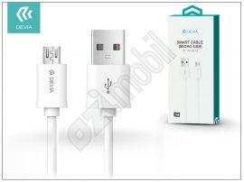 USB - micro USB adat- és töltőkábel 1 m-es vezetékkel - Devia Smart Cable - white